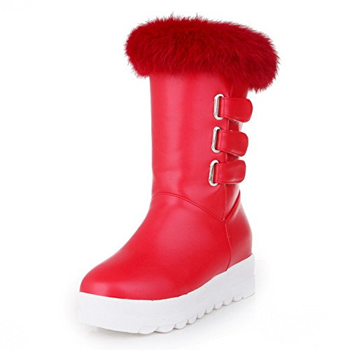 Red Collar Leather 1TO9 Imitated Inside Heighten Fur Boots Platform Womens Buckle xxf6Rv