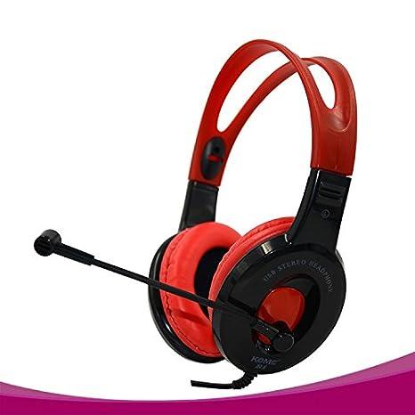 KOMC B1 Usb Stereo Over-Ear Headphone with Mic (Black Red)