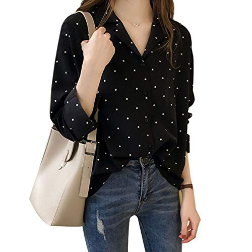 (Daily Women Top Casual V-Neck Long Sleeves Blouses Spring Chiffon Polka Dots Shirt Black XL)