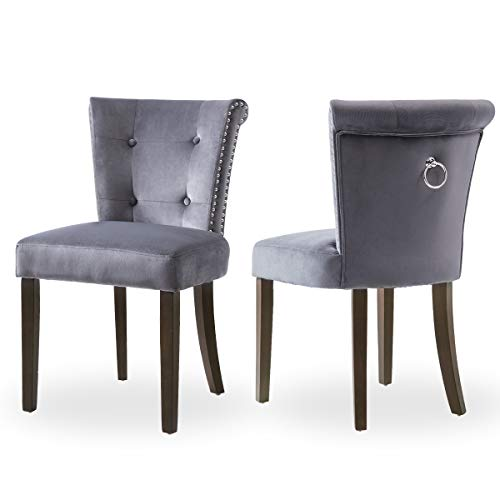 Victorian Dining Chair Button Tufted Armless Chair Upholstered Accent Chair with Nailhead Trim, Chair Ring Pull, Set of 2, Blue-Grey