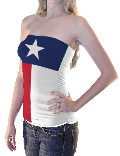 Texas Flag Women's Tube Top - White/Red/Blue - Tube Top Flag