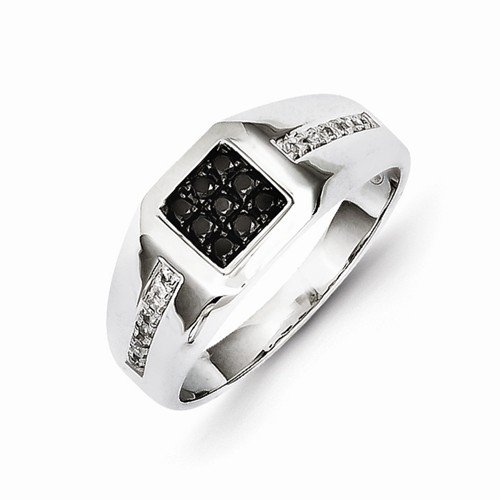 Size - 8.75 - Solid 14k White Gold White & Black Diamond Square Men's Wedding Ring Band (1/4 cttw) (9mm) Diamond Solid Gold Ring