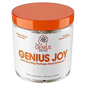 Genius Joy – Serotonin Mood Booster for Anxiety Relief, Wellness & Brain Support, Nootropic Dopamine Stack w/SAM-E, Panax Ginseng & L-Theanine – Natural Anti Stress & Herbal Calm, 100 veggie pills