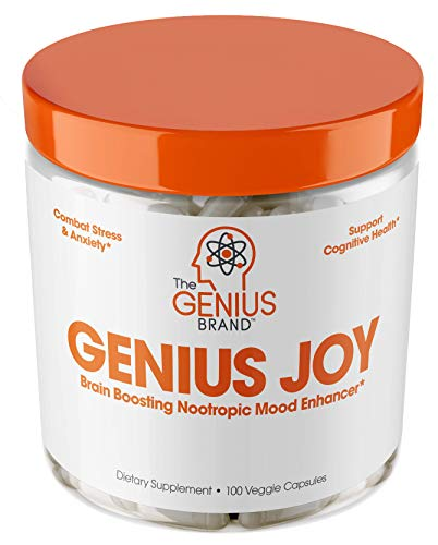 Free Test 100 Capsules - Genius Joy - Serotonin Mood Booster for Anxiety Relief, Wellness & Brain Support, Nootropic Dopamine Stack w/SAM-E, Panax Ginseng & L-Theanine - Natural Anti Stress & Herbal Calm, 100 veggie pills