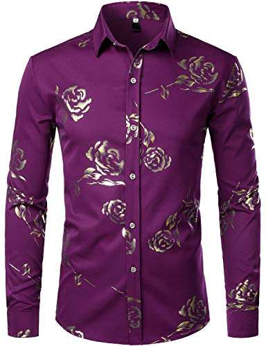 ZEROYAA Mens Hipster Gold Rose Printed Slim Fit Long Sleeve Dress Shirts/Prom Performing Shirts Z56 Purple Medium