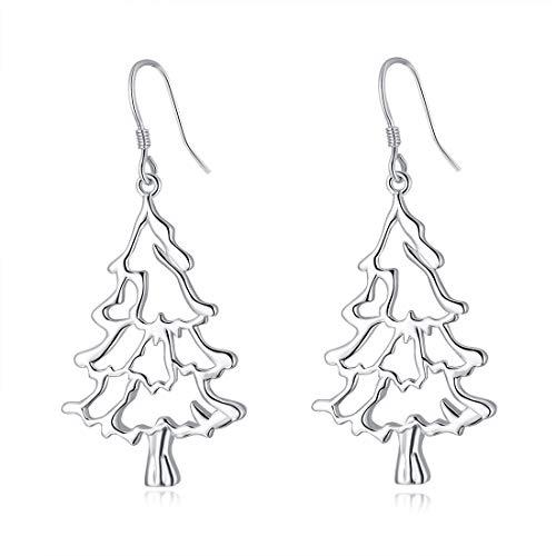 LAIMALA Christmas Earrings Sterling Silver Christmas Tree Necklace Dangle Earrings