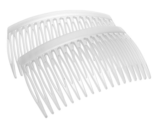 Matte Frost Combs - France Luxe 18 Tooth French Side Comb Pair - Matte White