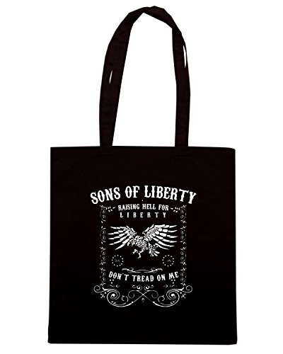 T-Shirtshock - Bolsa para la compra TM0636 raising hell for liberty dont tread on me Negro