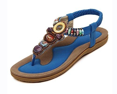 zapatos planos de las sandalias de cuentas de gran tamaño de los zapatos 42-44 Blue