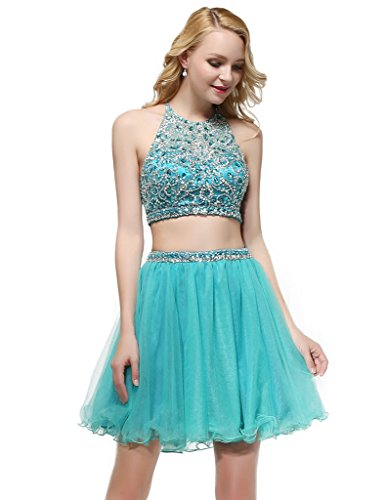 HarveyBridal 2 Piece Ball Gown Homecoming Dress Mini Crystal Backless Prom Dress US Size 4
