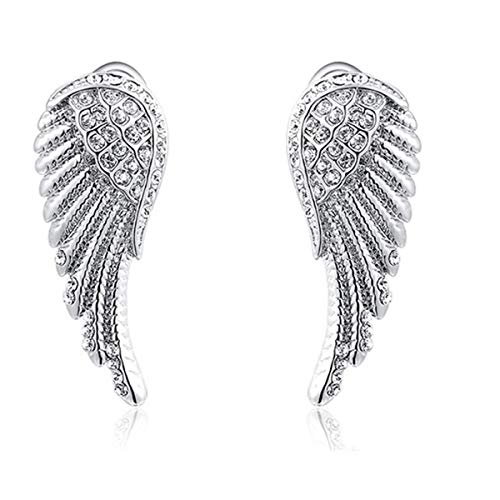 Crystal Angel Wings Earrings for Women Angel Wings Earrings Stud Anniversary Gifts Mother Day Gifts for Her Grandma Teenage Girls Fashion Mother's Day Gifts Girlfriend Wife White Gold -