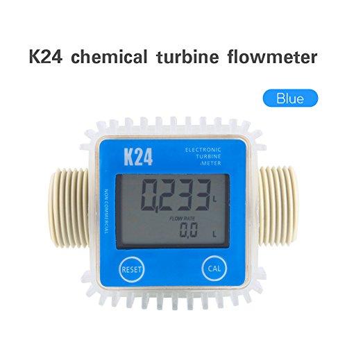 1″ K24 Chemical Turbine Flow Meter,Digital Gas Oil Fuel Flowmeter,Pump Flow Meter Diesel Fuel Diesel Kerosene Line Pipe Counter for Chemicals Water