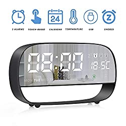 LLQ Digital Alarm Clock, Mirror Desk Clock, LED Clocks for Bedrooms with 3 Snooze Alarms, Date, Temperature, Night Light, Battery Powered & USB Powered