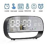 LLQ Digital Alarm Clock, Mirror Desk Clock, LED Clocks for Bedrooms with 3 Snooze Alarms, Date, Temperature, Night Light, Battery Powered & USB Powered
