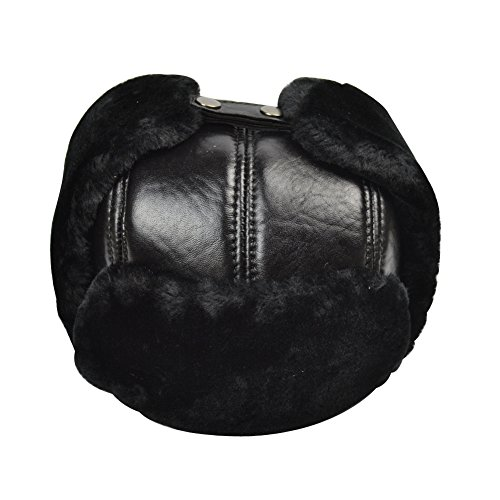 (Yosang Trapper Hat Winter Hunter Ushanka with Ear Flaps Winter Sport Leather Black Hat(Large))