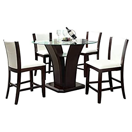 Amazoncom Wood Base Dining Table Dining Table With Glass Top
