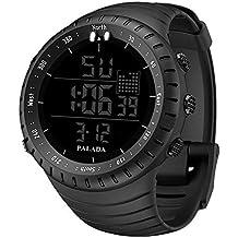Men's Sports Watch, PALADA Men's All Black Digital Watch Wrist Watch Electronic Quartz Movement Military Watch LED Backlight Watches for Men