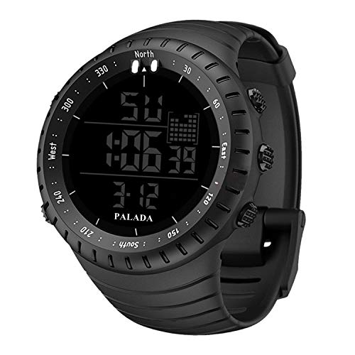 Men's Sports Watch, PALADA Men's All Black Digital Watch Wrist Watch Electronic Quartz Movement Military Watch LED Backlight Watches for Men