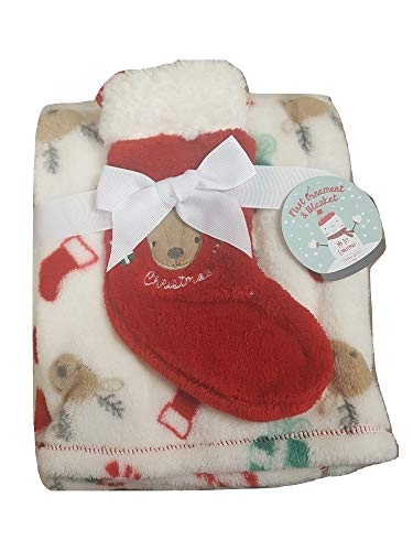 Baby Gear My First Christmas Embroidered Reindeer Stocking and Blanket Set