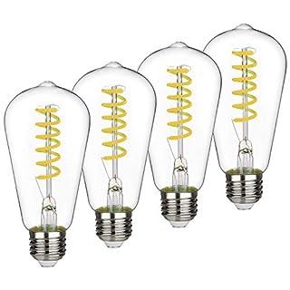 ST58 BORT 6W Vintage LED Edison Bulbs, Daylight 5000K, Antique LED Filament Light Bulbs, Dimmable 60W Equivalent, 600LM, E26 Standard Base (6W-5000K-4 Pack)