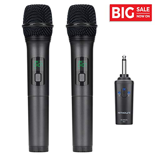 - Kithouse K380A Wireless Microphone Karaoke Bluetooth Microphone Wireless With Rechargeable Receiver System - UHF Dual Handheld Dynamic Mic Set For Karaoke Singing Speech Church (Elegant Black)