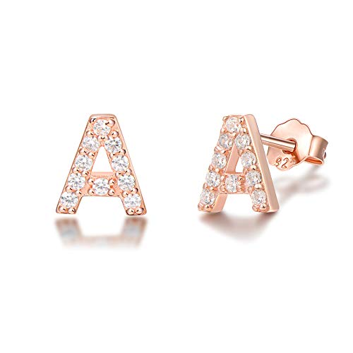 (Rose Gold Plated 925 Sterling Silver Cubic Zirconia Small Letter Initial Stud Earrings Alphabet A-Z For Kids Teen Girls Women )