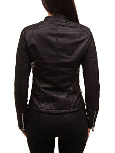 Estilo Mujer BOLF Chaqueta Cierre Negro Urbano De 88008 Cremallera D4D Cuero Ecológico Motivo 0wUSpqdUx