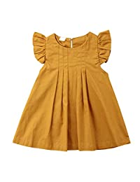 OCEAN-STORE Kids Baby Girl Solid Ruffled Fly Sleeve Vintage Princess Dresses Summer Clothes