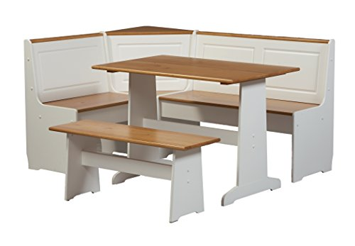Linon Home Ardmore Nook Set with Pine Accents, White (Kitchen Banquette In Seating)
