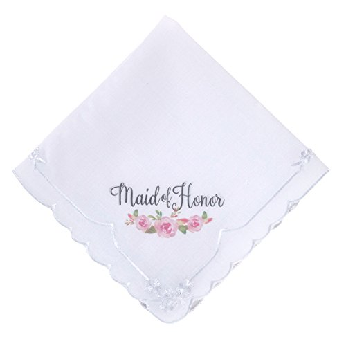 Lillian Rose HA690 MH Watercolor Flower Maid of Honor Wedding Hankie, Multicolor