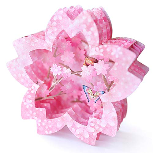 Paper Spiritz Cherry Blossom Butterfly Pop up Cards Birthday, 3D Anniversary Thank You Card, Handmade Graduation Sympathy Blank Card, Laser Cut Decoration Gift Card with Envelopes All Occasions