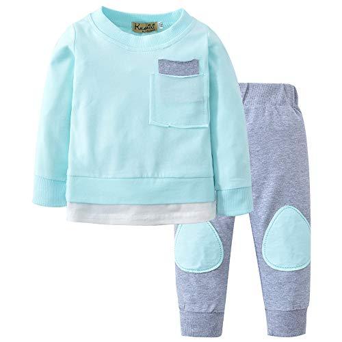 Ankola 2PCs Set Toddler Infant Baby Boys Patchwork Long Sleeve Autumn Winter Tops Sweatsuit Pants Outfit Set (24M, -