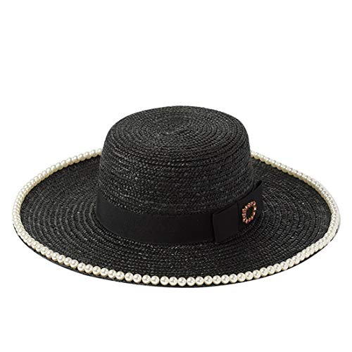 (Summer Encrusted with A Bow-tie with A Flat Top Straw Hat for Lady's Tourist Beach Sun Shade Straw Hat (Color : Black, Size : M) )