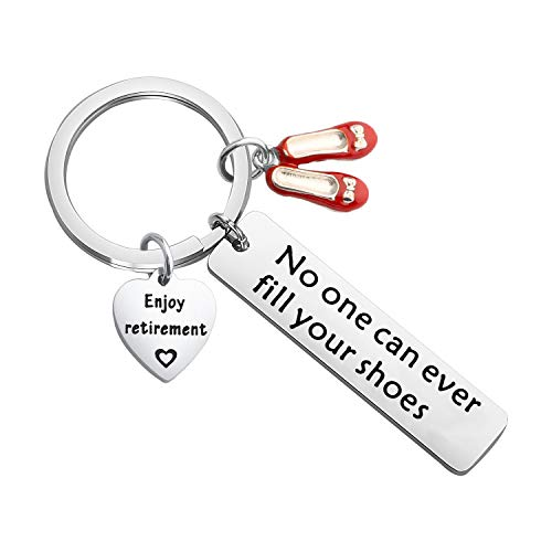 bobauna Enjoy Retirememnt Keychain No One Can Ever Fill Your Shoes With High Heels Charm Retirement Gift For Boss Staff Coworker Employee (retirement shoes keychain)