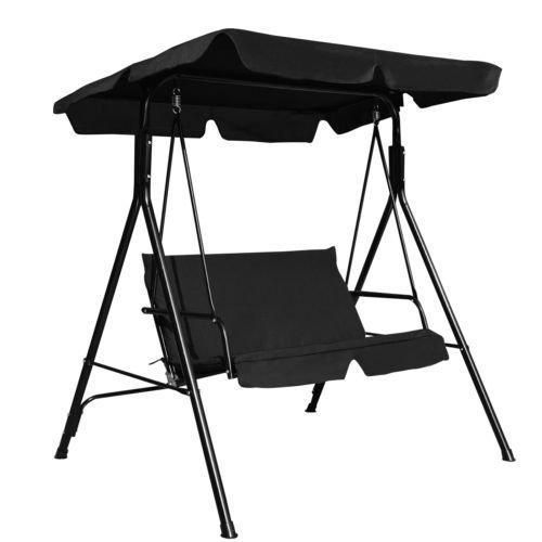 Maximumstore Loveseat Patio Canopy Swing Glider Hammock Cushioned Steel Frame Outdoor Black - Black Oxford Apples