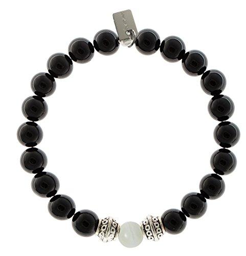 EvaDane Natural Black Onyx Gemstone Tibetan Bead Moonstone Center Stone Stretch Bracelet - Size 8 Inch ( 1_ONY_S_T_S-MOO_8)