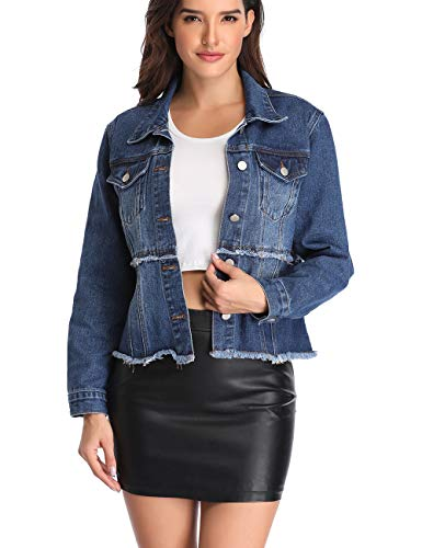 Dilgul Women's Denim Jacket Button Up Cropped Splice Long Sleeve Lapel Frayed Washed Jean Jackets Pockets