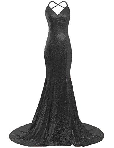 Jaeden Longue Robe De Bal Sequin Robe De Soirée Sirène Pour La Fête Dos Ouvert Sans Manche Noir