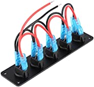 12v/24v Rocker Switch Panel 5 Gang Round Dash Toggle Switch Blue LED for RV Boat Yacht Marine