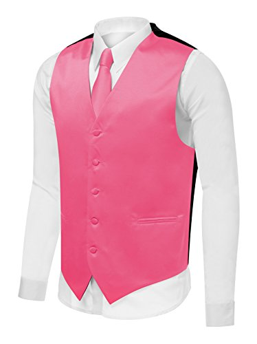 Azzurro Men's Dress Vest Set Neck Tie, Hanky for Suit or Tuxedo, Hot Pink, Medium (Mens Pink Dress Vest)