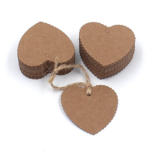 ZICOME 150 Piece Kraft Paper Gift Tags with 50 Feet Natural Jute Twine, Heart Shaped, Brown