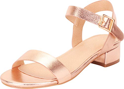- Cambridge Select Women's Classic Single Band Chunky Block Low Heel Sandal,7 B(M) US,Rose Gold PU