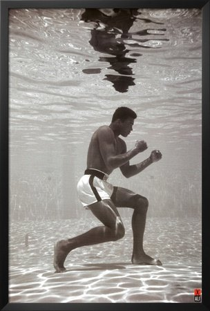 framed muhammad ali under water 36x24 sports photograph art poster print training boxer boxing legend icon - Muhammad Ali Framed Pictures