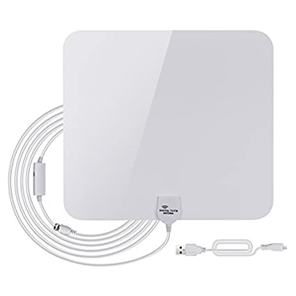 GHB Amplified HDTV Antenna 50 Miles Range Digital TV Antenna Indoor with Detachable Amplifier USB Power