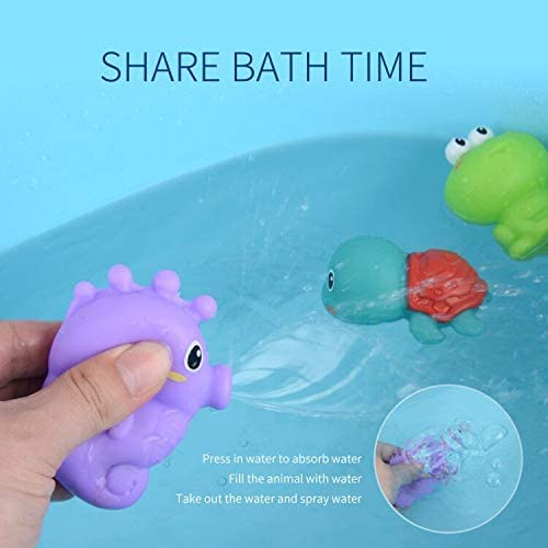 RISUNTOY Baby's First Bath Toys Set Squirt Toys for Toddler Boys Girls Bathtub for Swimming Pools Sensory Play,5 Count