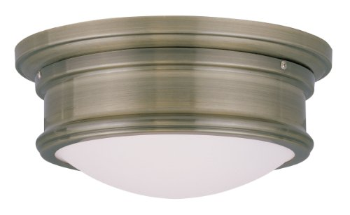 Livex Lighting 7341-01 Astor 2 Light Ceiling Mount, Antique Brass