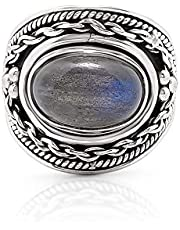 Labradorite Ethnic Vintage Gipsy Ring 925 Sterling Silver Tribal Boho Chic Jewelry