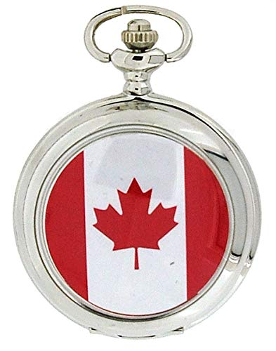 Boxx Canadian Maple Leaf Flag White Dial Gents Pocket Watch 12