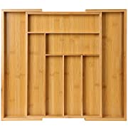 #LightningDeal Bamboo Expandable Drawer Organizer for Utensils Holder, Adjustable Cutlery Tray, Wood Drawer Dividers Organizer for Silverware, Flatware, Knives in Kitchen, Bedroom, Living Room by Pipishell
