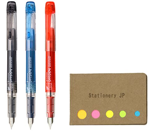 Platinum Preppy Rainbow Fountain Pen, Fine Point 03, Black/Blue Black/Red Ink, Sticky Notes Value Set